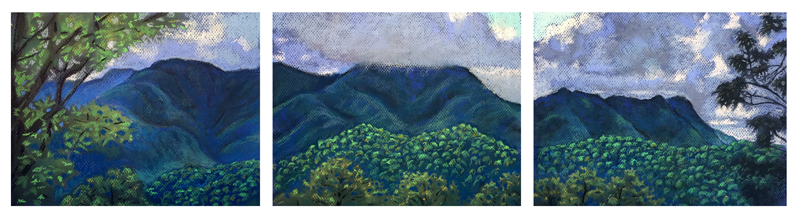 Triptych of the Black Mountains by Stephanie Berry, pastel on paper
