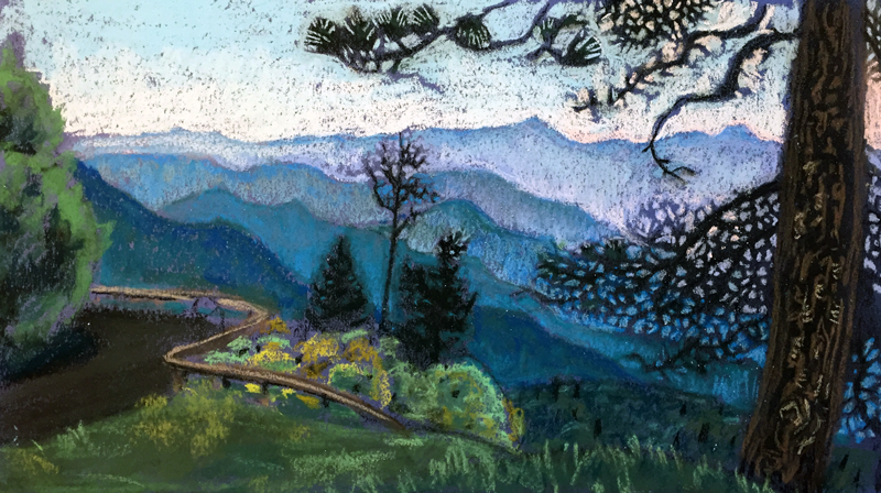BRP # 6: Table Mountain seen under a Table Mountain Pine, a pastel by Stephanie Berry, #6 in her Blue Ridge Parkway Series