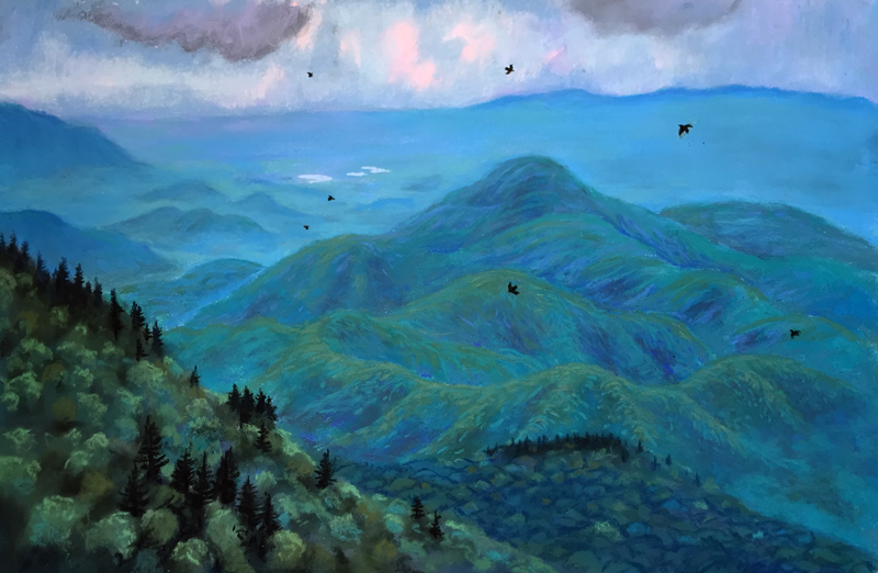 BRP Dusting #8: Seven Swifts at Dusk, a pastel by Stephanie Berry from her Blue Ridge Parkway Series