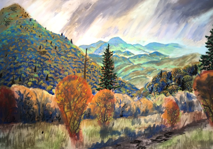 Work in Progress: Massie Gap, Virginia, a pastel painting by Stephanie Berry from a scene along the Appalachian Trail in Grayson Highlands, Virginia