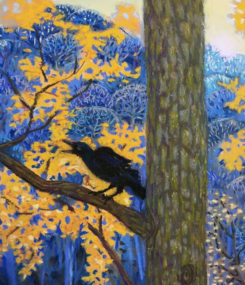 """Crow from """"Seven Crows on the Edge of Dusk"""" a pastel painting by Stephanie Thomas Berry"""