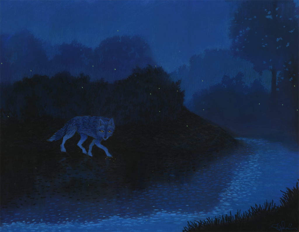 Coyote Walks the In-Between, a pastel by Stephanie Thomas Berry