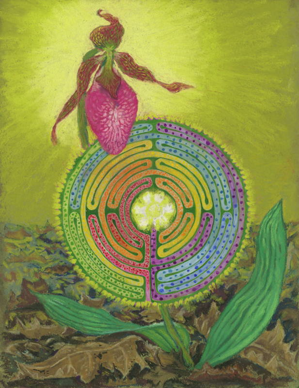 Lady Labyrinth, a pastel by Stephanie Thomas Berry featuring a Pink Lady Slipper and a Labyrinth