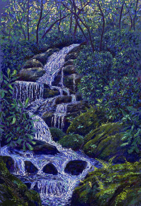 Roaring Fork Falls, Burnsville, NC, pastel by Stephanie Thomas Berry