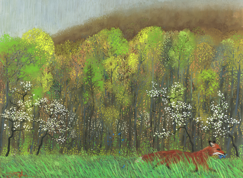 Ephemerality, a pastel by Stephanie Thomas Berry with a fox and a bluebird in an Appalachian Spring