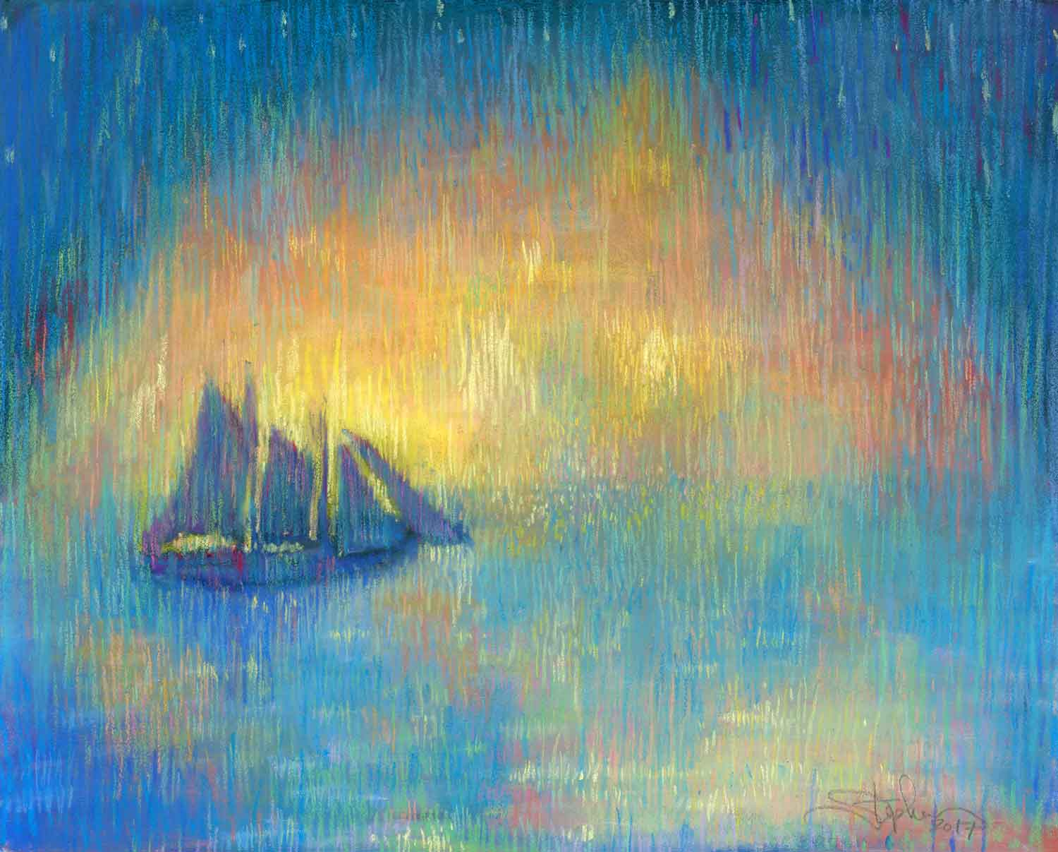 Leaving the Harbor, pastel by Stephanie Thomas Berry